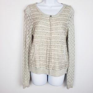 Anthro moth tan gray zip up sweater jacket